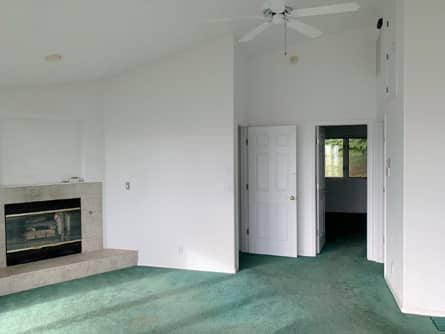 Great Room with Propane Fireplace and Ceiling Fan