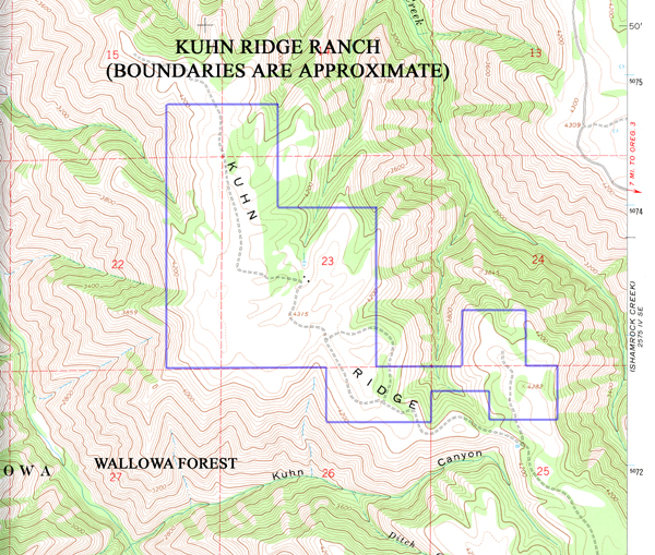 Topography Map Of 860 Acre Spectacular Kuhn Ridge Ranch For Sale