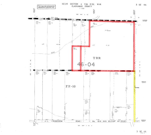 Plat Map Of 42 Acres Of Land For Sale Near Sandy Oregon